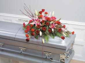 Red Roses and Lilies Casket Spray<br>CTT90-11