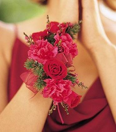 Hot Pink and Red Corsage
